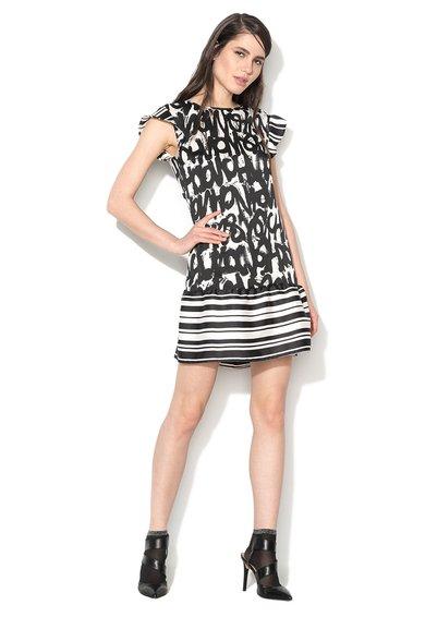 FashionDays.ro: Rochie negru cu alb cu imprimeu graffiti Sisley