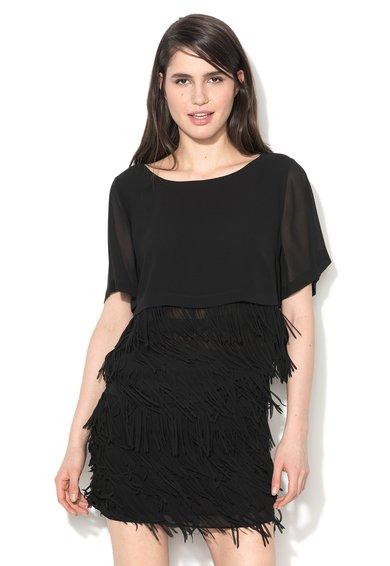 Sisley Bluza neagra cu straturi franjurate
