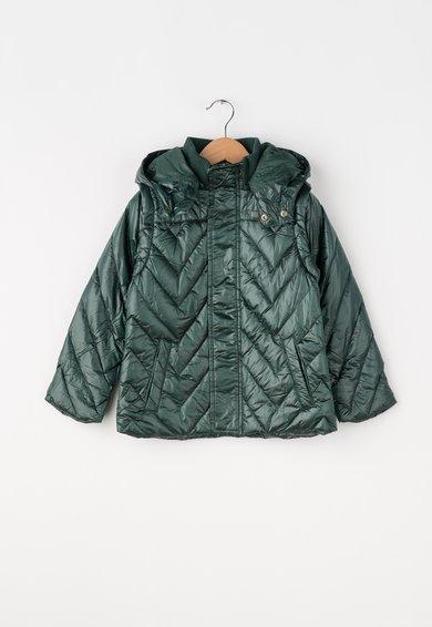 Jacheta verde inchis cu gluga si umplutura