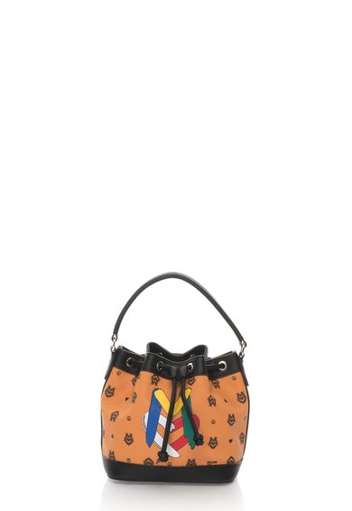 FashionDays.ro: Geanta bucket mica maro acaju cu negru Love Moschino