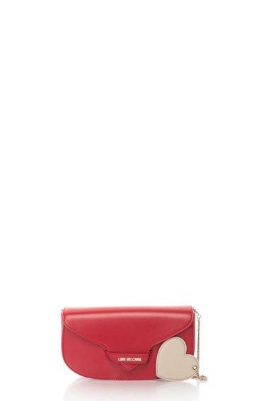 FashionDays.ro: Geanta baguette rosie cu pandantiv in forma de inima Love Moschino