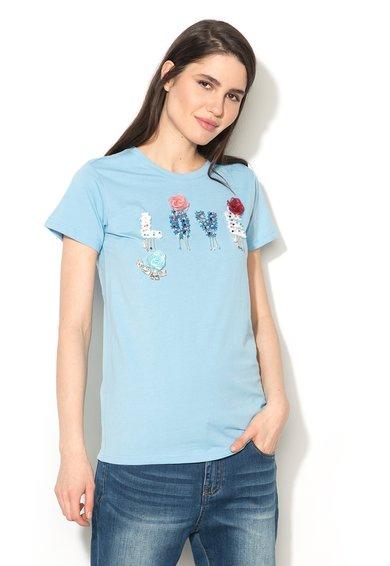 Silvian Heach Collection Tricou bleu cu croiala lejera Banska