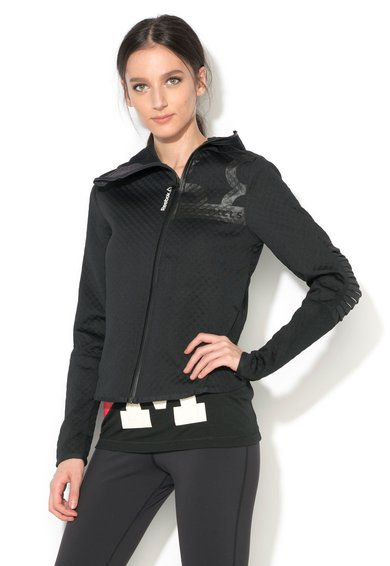 Reebok Bluza sport neagra texturata cu fermoar
