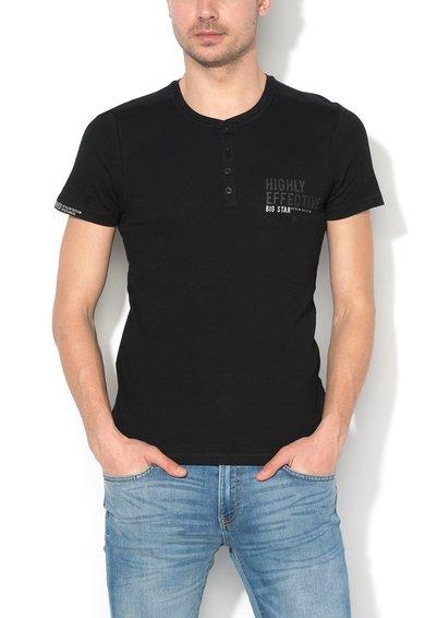 FashionDays.ro: Tricou negru slim fit cu striatii Webad Big Star