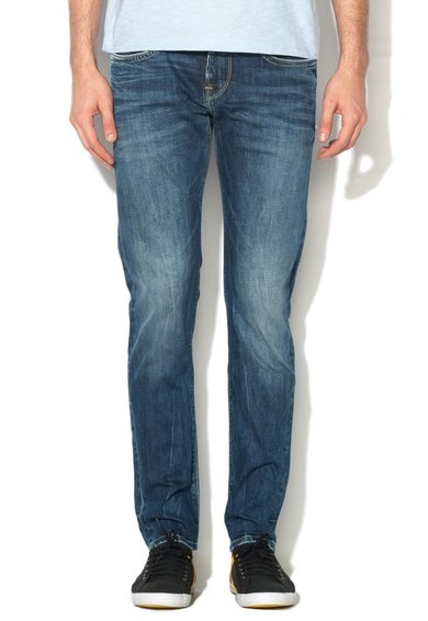 Jeansi slim fit albastru inchis cu aspect decolorat Hatch Pepe Jeans London