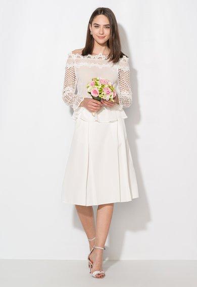 FashionDays.ro: Bluza alba cu maneci de dantela crosetata Zee Lane Collection