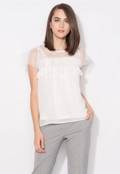 FashionDays.ro: Bluza alba cu insertii de dantela Zee Lane Collection