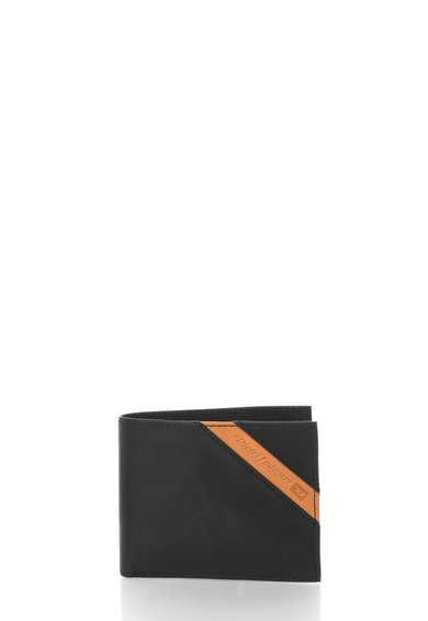 FashionDays.ro: Portofel negru de piele cu garnitura maro Neela Diesel