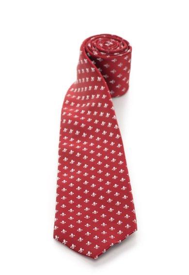 FashionDays.ro: Cravata rosie de matase cu model fleur de lis argintiu Vincenzo Boretti