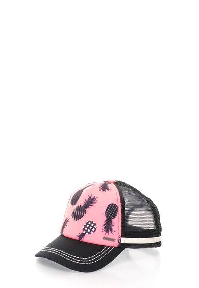 FashionDays.ro: Sapca trucker roz neon cu negru si imprimeu cu ananas Roxy