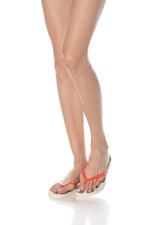 Papuci flip-flop oranj mandarina si alb prafuit cu imprimeu