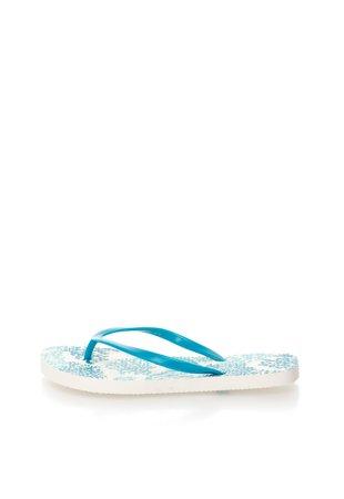 Papuci flip-flop albastri cu model grafic