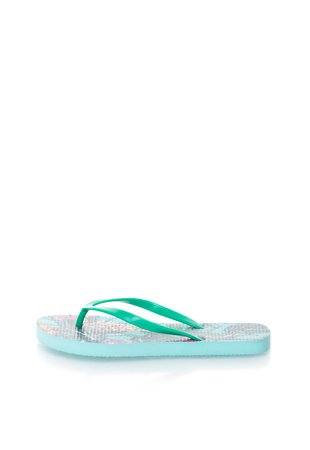 Papuci flip-flop verde si albastru cu model tropical